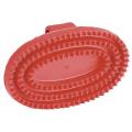 Gummistriegel oval, Hartgummi, rot
